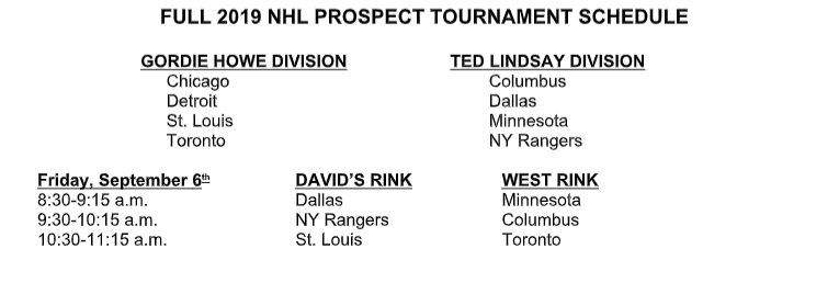 Detroit Red Wings, Training Camp, Prospect Tournament Schedule